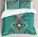 Lunarable Aztec Duvet Cover Set Queen Size, Colorful Geometric Shapes on Teal Backdrop Cheerful Tribal Design Ethnic Culture, Decorative 3 Piece Bedding Set with 2 Pillow Shams, Teal Multicolor