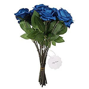 AmyHomie Artificial Flowers Silk Roses Bouquet Home Wedding Decoration Pack of 15 4