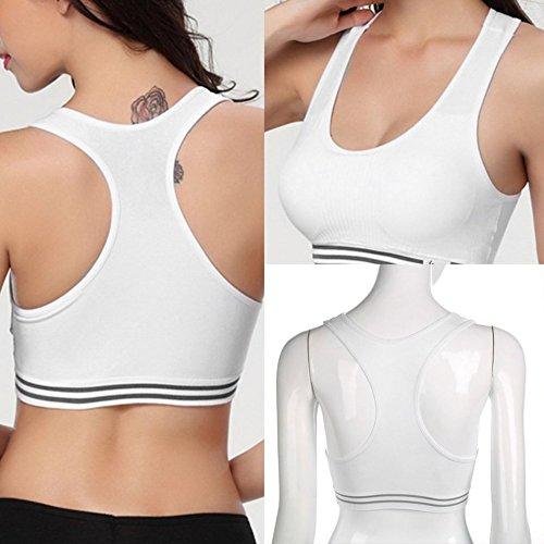 Mouchao Reggiseno Sportivo a Incrocio da Donna Senza Cuciture Top Yoga Allenamento Imbottito Elasticizzato Bianco M