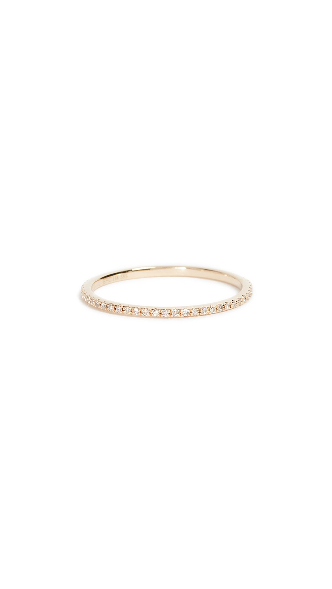 EF Collection Women's 14k Gold Diamond Eternity Stack Ring, Yellow Gold/Clear, 7