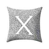 Letter Pillow Case Covers Metallic Throw Pillow Case 18x18'' A-Z Letter Alphabets Cushion Cover Polyester Pillowcase for Home Sofa Couch Decor (X)