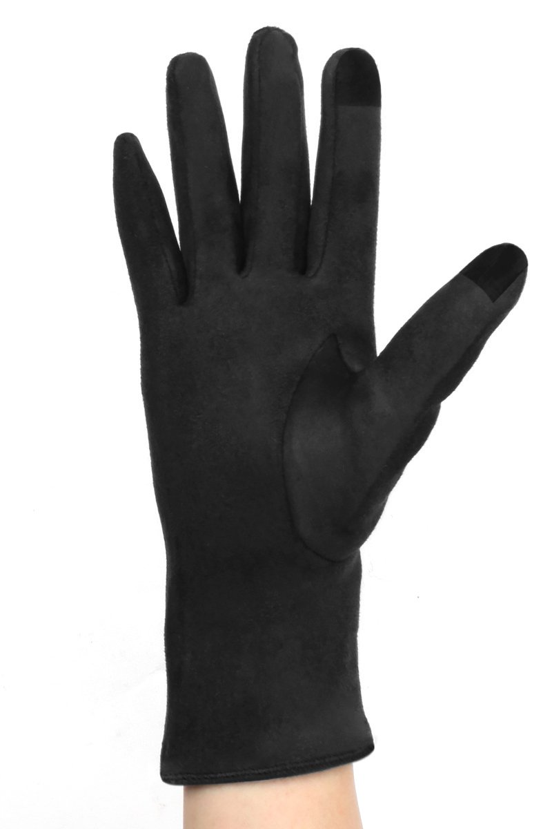 LL Womens Black Touch Screen Gloves Faux Suede Bow Lined Small Medium