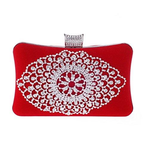 Bag Velvet Red Clutch Bag Rhinestone Hard Shell Red Luxury Handbag Color Purse KERVINFENDRIYUN Evening Banquet qxXwzgKO