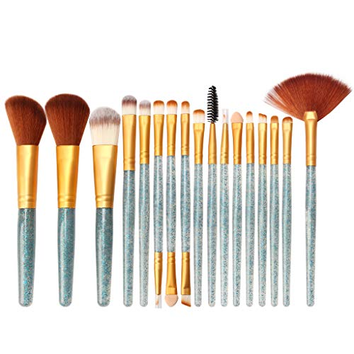 Sussmai Wooden Shiny Makeup Brush Set Tools Make-up Toiletry Kit Glitter Brushes Set 18Pcs]()