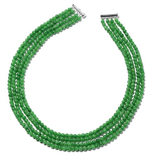 Green Jade Multi Strand Necklace 925 Sterling Silver Jewelry for Women Size 18