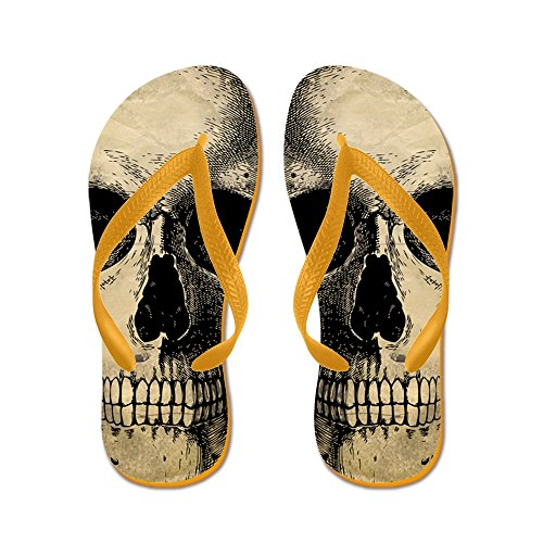 CafePress Antique Vintage Skull - Flip Flops, Funny Thong Sandals, Beach Sandals Orange