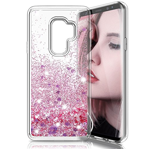 Daker For Galaxy S9 Plus Case, Glitter Clear Back Flowing Liquid Floating Luxury Bling Sparkle TPU Hybrid Shockproof Bumper Girl's Case for Samsung Galaxy S9 Plus 6.2 inch 2018 (Rose Gold)