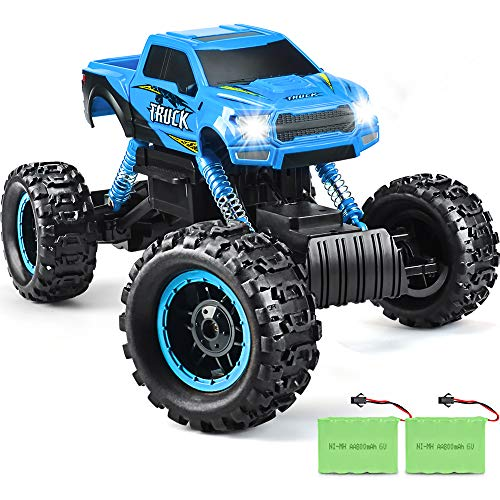 DOUBLE E RC Cars Newest 1: 12 Scale Remote Control Car with Two Rechargeable Batteries & Dual Motors Off Road RC Trucks, High Speed Racing Car for Kids, Blue (Best 1 5 Scale Rc 2019)