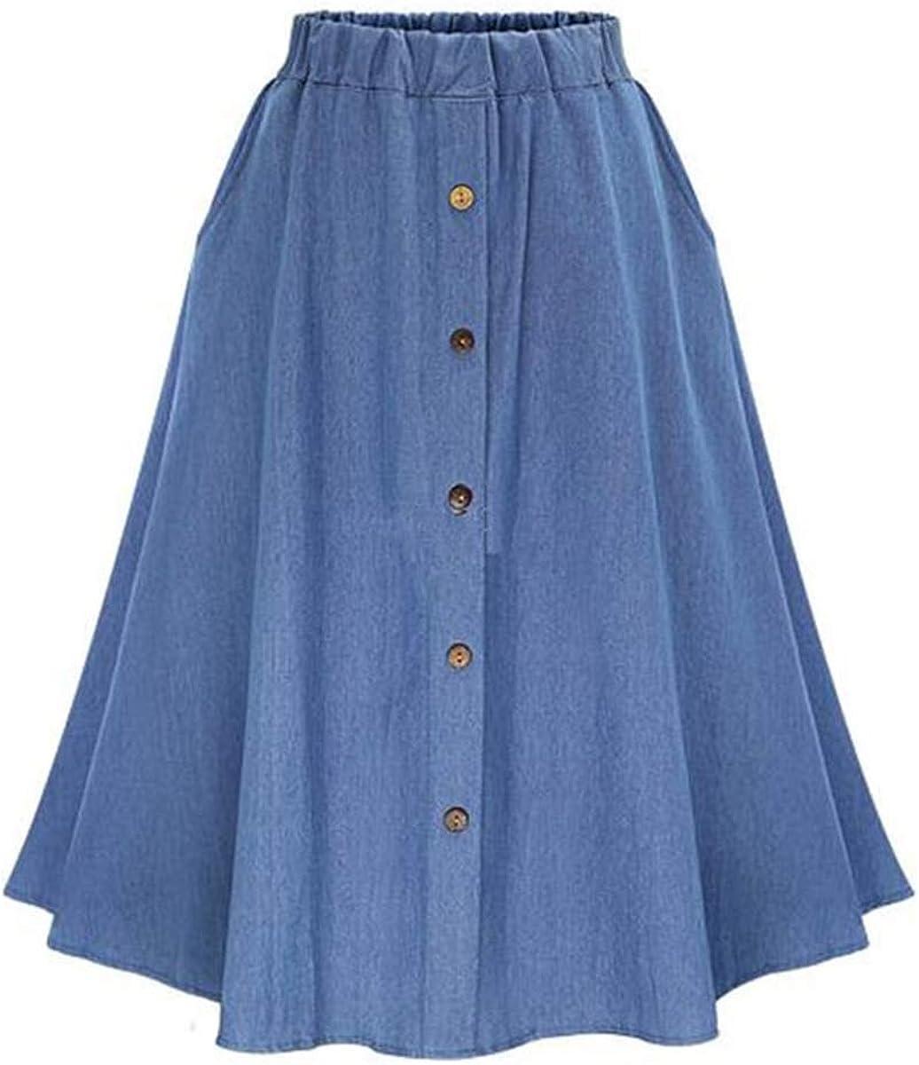MakeMeChic Women's Casual Ruffle Hem Stretchy Waist Drawstring Maxi Flared A Line Skirt