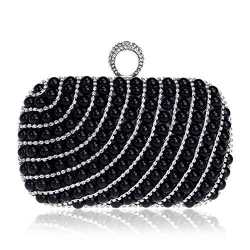 goud Melodycp Handtassen Bag Elegant Messenger imitatie schouder Beaded Zwart Square kleur Evening voor Banquet rxrqw17