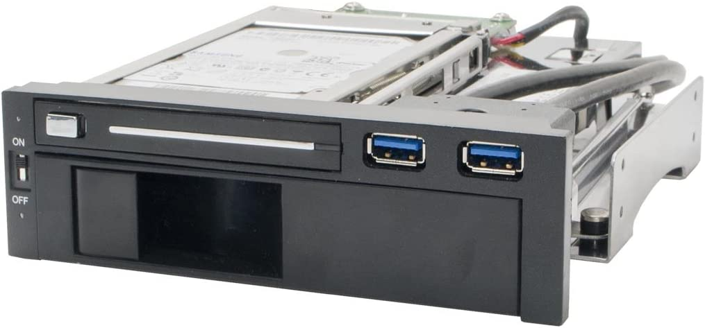 """Syba SY-MRA55006 5.25"""" Bay Tray Less Mobile Rack for 3.5"""" and 2.5"""" Sata III HDD with Extra 2 Port USB 3.0, Black/White"""