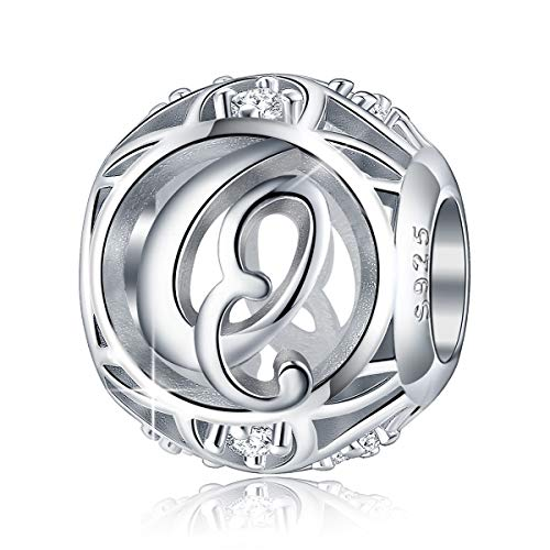 FOREVER QUEEN Letter Charm Initial A-Z Alphabet Charm Dangle Charm for Bracelet Necklace, 925 Sterling Silver CZ Beads Charm Personalized Jewelry Gift for Men Women Girls Birthday Valentine's Day (Q)