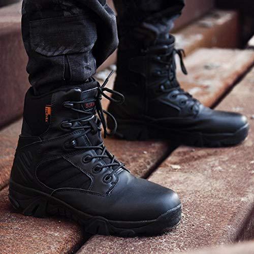 Pelliccia All usura Uomo Nero Antiscivolo Da Pelle Abcone Invernali Stivali  Militari Caviglia Combattimento Sneakers Stivaletti Scarpe ... 9f6b76823d8