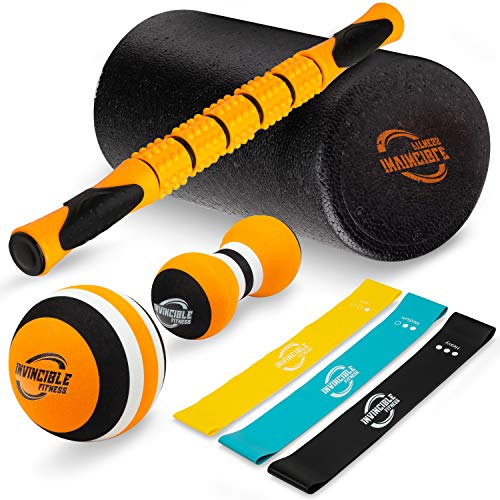 (Invincible Fitness Foam Roller Set, Includes Muscle Roller Stick, Double Peanut Massage Ball, Trigger Point Ball and 3 Resistance Loop Bands, for Self - Myofascial Release, Deep Tissue Massage)