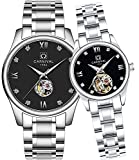 Couple Automatic Mechanical Watch Men and Women Sapphire Glass Watches Romantic for Her or His Gift Set 2 (Silver Black)