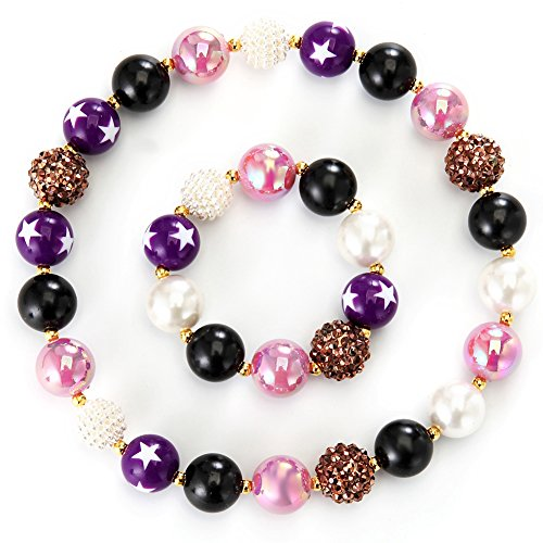 PinkSheep Girl Bubblegum Necklace and Bracelet set, Beads Ne