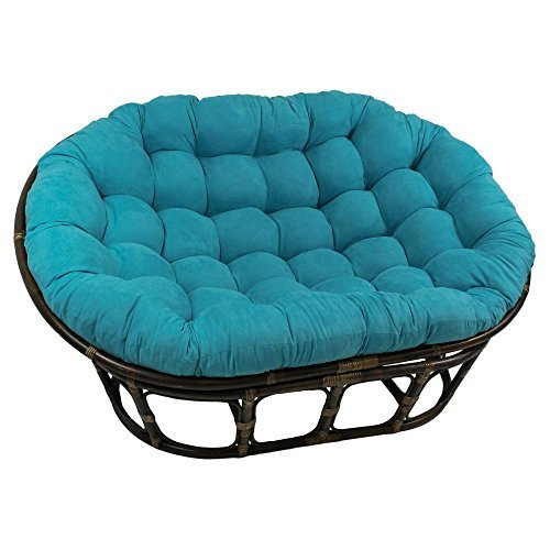 International Caravan 3304-MS-AB-IC Furniture Piece 63x45-Inch Double Papasan with Micro Suede Cushion, Aqua Blue