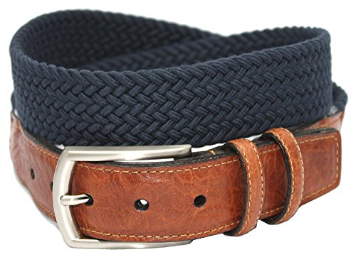 Torino Leather 32mm Italian Woven Cotton Elastic Belt - Navy