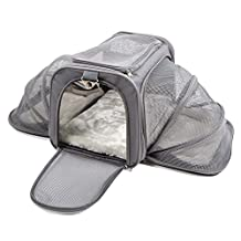 """Jet Sitter Luxury Expandable Pet Carrier V2 - Airline Approved, Improved Durable Mesh, Dogs and Cats, TSA airplane in cabin under seat (18""""x11""""x11"""", Dark Gray)"""