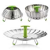 """Steamer Basket, Instant Pot Insert, Zanmini Stainless Steel Vegetable Steamer Basket Steamer Insert with Extendable Handle for Veggie Fish Seafood Cooking, Expandable to Fit Various Size Pot (7"""" to 11"""")"""