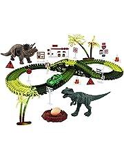 Newmind Dinosaur Toys Race Track Playset Bend Create DIY Dinosaur Tracks Railway Toy for Christmas Christmas Birthday Ages