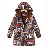 Chaofanjiancai Womens Long Sleeve Outwear Floral Print Hooded Pockets Button Vintage Oversize Coats