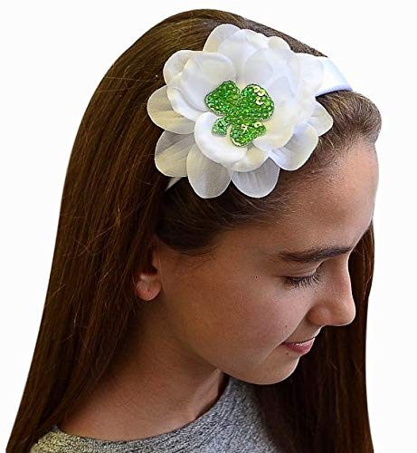 St Patricks Day Sequin Shamrock Girls Headband Funny Girl Designs