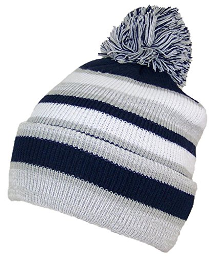 Best Winter Hats Quality Striped Variegated Cuffed Beanie W/Large Pom (L/XL) - Light (Beanie Stocking Winter Hat)