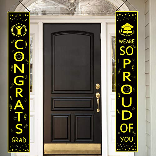 Positivelife Graduation Party Decorations, Front Porch Sign Grad Decorations Outdoor Indoor Graduation Party DIY Black & Gold Decor Banner Front Door Signs for Front Porch ()