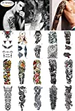Large Temporary Men Women Tattoos - Wolf,Tribal,Koi Fish, Skull, Cross,Dream Catcher,Dragon Tattoo Body Art Designs,Arm Shoulder Neck Chest & Back Fake Tattoos for Men Women