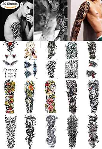 (Large Temporary Men Women Tattoos - Wolf,Tribal,Koi Fish, Skull, Cross,Dream Catcher,Dragon Tattoo Body Art Designs,Arm Shoulder Neck Chest & Back Fake Tattoos for Men Women)