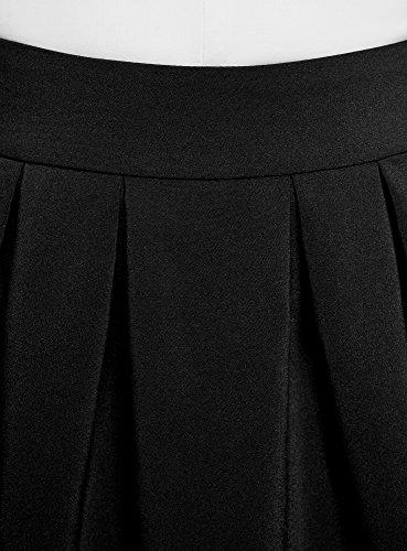 oodji Ultra Mujer Falda Acampanada con Pliegues Suaves Negro (2900N)