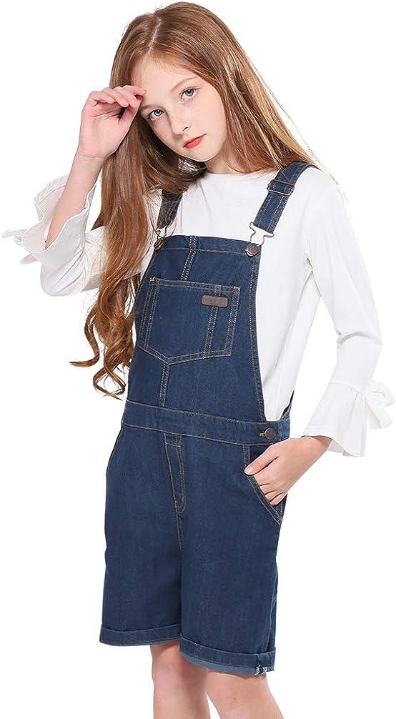 SOLOCOTE GirlVintage Wash Denim Pinafore with Adjustable Straps Jumpsuit Suspender Shortall Bib Pocket 5-14Y