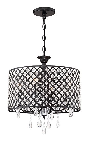 "Kira Home Briolette 16"" 4-Light Modern Chic Crystal Chandelier + Round Beaded Drum Shade, Adjustable Height, Black Finish - CONTEMPORARY GLAM: Deluxe hanging light features an easy to install classy black drum shade. Its intricate lattice design is embedded with faceted crystals and each candle holder is perfectly showcased with sophisticated dangling teardrop crystals PERFECT FOR ANY ROOM: This elegant fixture will enhance many different areas. Perfect for a foyer, over a dining room table, in an entryway or to dress up a bedroom. Suits commercial & residential applications. Dimmer & sloped ceiling compatible UL LISTED FOR YOUR SAFETY: UL listed for dry locations. Uses (4) LED, CFL, or up to 60W Type B candelabra base bulbs. Bulbs sold separately - kitchen-dining-room-decor, kitchen-dining-room, chandeliers-lighting - 51ixvRD7AAL -"