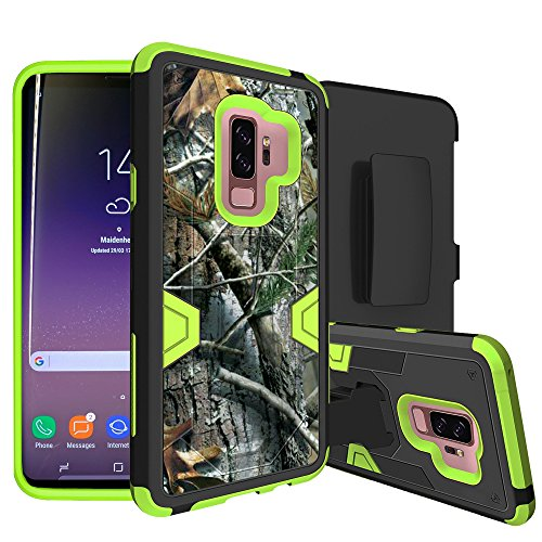 MINITURTLE Compatible with Samsung Galaxy S9 Plus Case w/Hybrid Silicone & Hard Exterior [MAX Defense Green Series] Clip + Stand Case Hunter Camo
