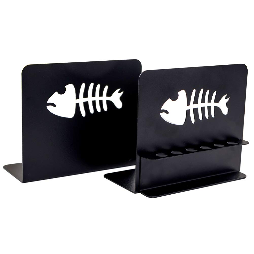 Book Ends for Children,Heavy Duty Metal Office Bookends,Unique Modern Decorative Bookend, Black, 1Pair