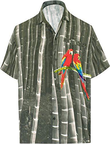 LA LEELA Mens Hawaiian Shirt Beach Button Down Short-Sleeve Front Pocket Shirt