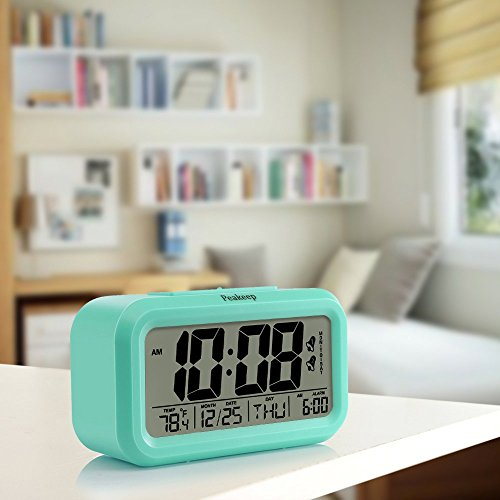 Peakeep Battery Digital Clock with 2, Snooze, Optional Weekday Alarm and Sensor Light (Mint Green)