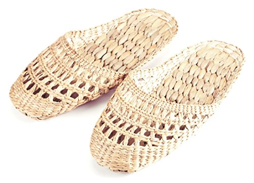 Men Woven Crochet Sandals Natural 100 Handmade Ladies Hand Guy Gaia Slippers for and Style Water Hyacinth fP064wxP