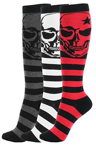 Girl Knee High Socks Soft Cotton Colorful Pattern Design For Women Summer or Winter (A-Large Skull Color-3pair),A-large Skull Color-3pair,One Size ()
