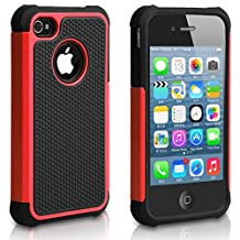 iPhone 4 Case, iPhone 4S Case, CHTech Shockproof Durable Hybrid Dual Layer Armor Defender Protective Case Cover for Apple iPhone 4S/4 (Red)