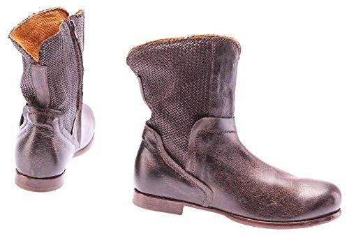 Zapatos Mujer Botines MOMA Branca Baby TMoro Vintage Cuero Marròn Made IT Lujo