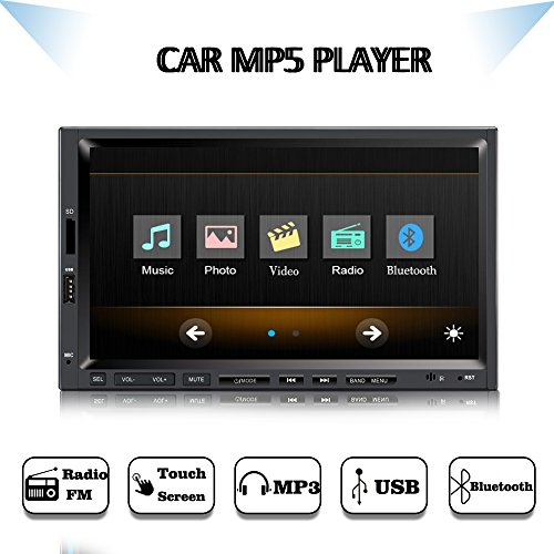 Yody 7 Inch Double Din Car Stereo with Bluetooth Touch Screen Car Audio Video Receiver, 1080P Videos Car Media Player,MP3/FM Radio/USB/TF Card/SWC,Wireless Remote Control+Backup camera
