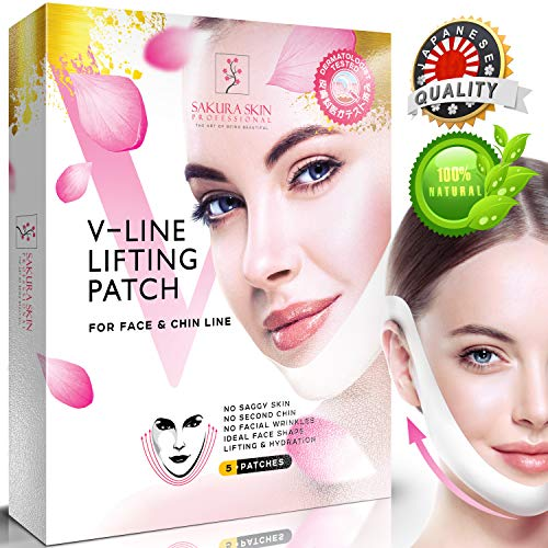 V Line Mask Neck Mask Face Lift V Lifting Chin Up Patch Double Chin Reducer Neck Lift V Up Contour Tightening Firming Moisturizing Кorean Сollagen Chin Mask V Shape Face Lifting V Zone Mask Tape ()