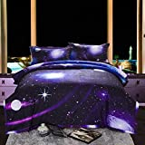Galaxy 3D Printing Never Fade Quilt Outer Space Comforter Sets With 2 Matching Pillow Covers (QUEEN)