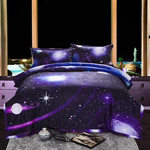 A Nice Night Galaxy 3D Printing Never Fade Quilt Outer Space Comforter Sets with 2 Matching Pillow Covers
