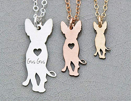 Sphynx Cat Necklace - IBD - Personalize with Name or Date - Choose Chain Length - Pendant Size Options - 935 Sterling Silver 14K Rose Gold Filled Charm - Ships in 1 Business Day