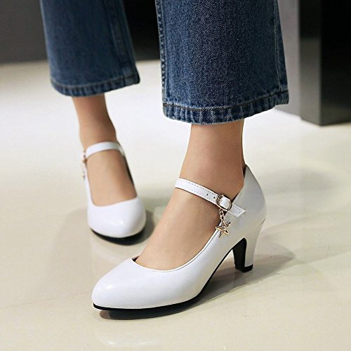 MissSaSa Damen high heel Ankle-strap Pointed toe Pumps Weiß