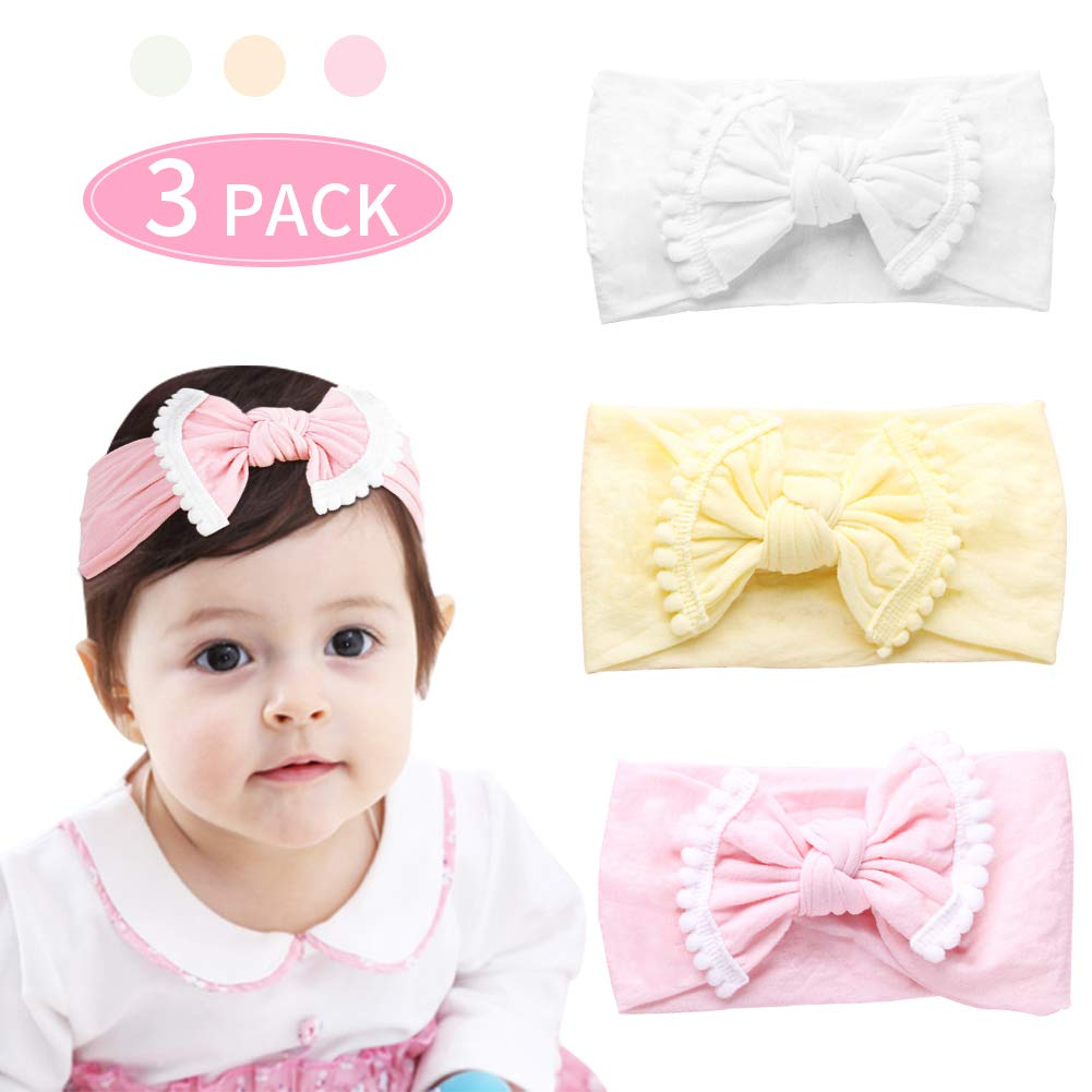 Baby Nylon Elastic Knotted Headbands Newborn Cute Soft Head Wraps Baby Fashion Headbands Bows Hair Band Hair Accessories for Baby Gifts Holiday Birthday Dress Accessories (Color 1)