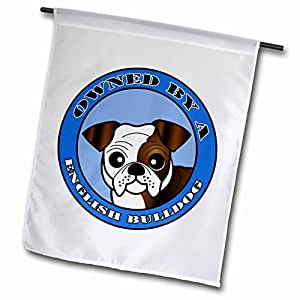 Janna Salak Designs Dogs - Owned By a English Bulldog Brown and White Coat - Blue - 12 x 18 inch Garden Flag (fl_47648_1)